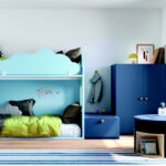 Habitación kids con litera 12e-0009 color azul vista completa