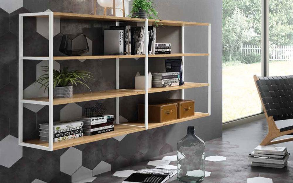 Mueble auxiliar librería 13c-0004 color blanco con madera vista general
