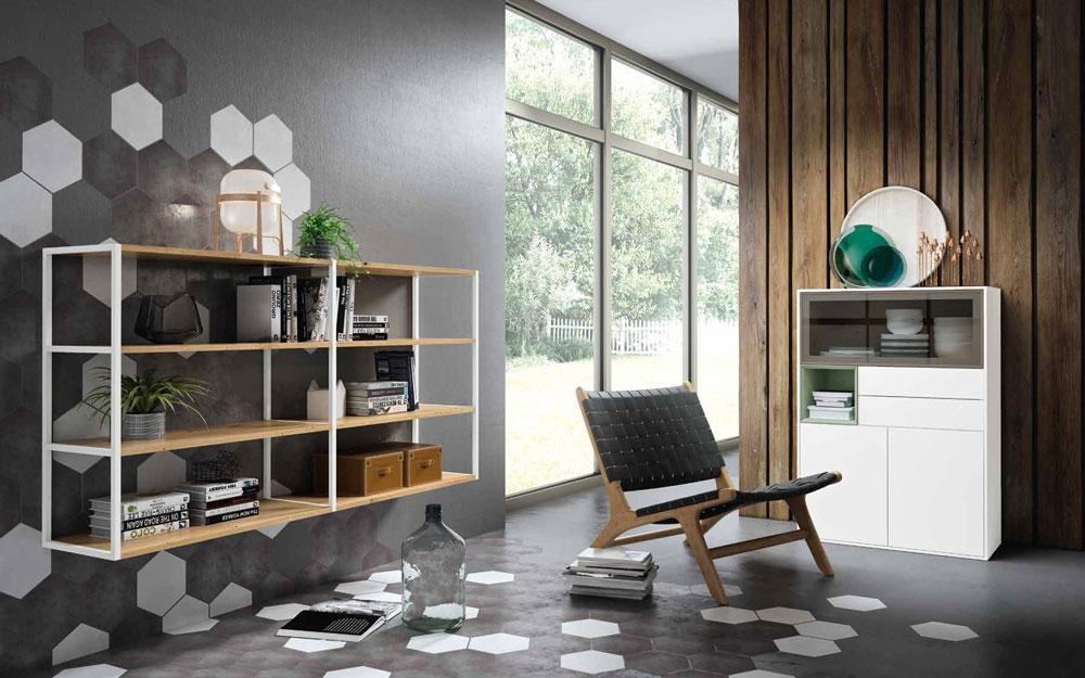 Muebles auxiliares librería y buffet 13c-0005 color blanco y madera vista general