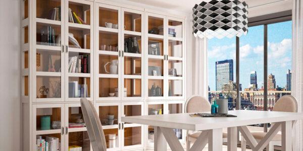 Mueble auxiliar librería vitrina 13c-0009 madera beige vista general