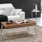 Mesa auxiliar elevable 14e-0008 madera y plateado vista ambiente