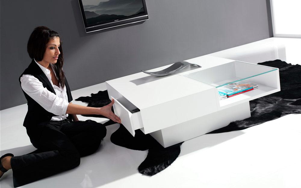 Mesa auxiliar 14e-0010 blanco vista ambiente detalle de cajón