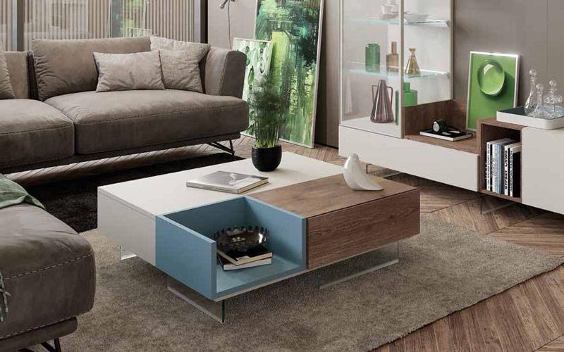 Mesa de centro elevable con cajón y bandeja 14e-0005 madera vista general