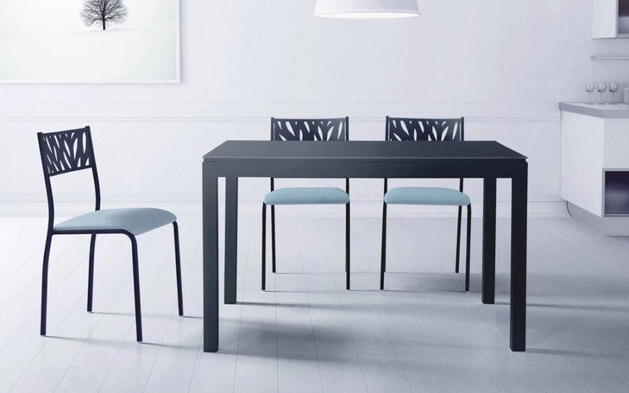 Mesa de cocina 15b-0003 color gris vista frontal