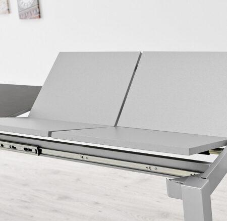 Mesa de cocina extensible 15b-0004 blanco y gris vista de detalle mecanismo