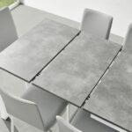Mesa de cocina extensible 15b-0004 blanco y gris vista de detalle abierta