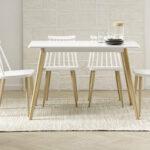 Mesa de cocina 15b-0005 blanco y madera vista de ambiente frontal