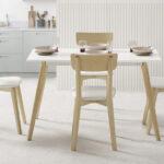 Mesa de cocina 15b-0005 blanco y madera vista de ambiente