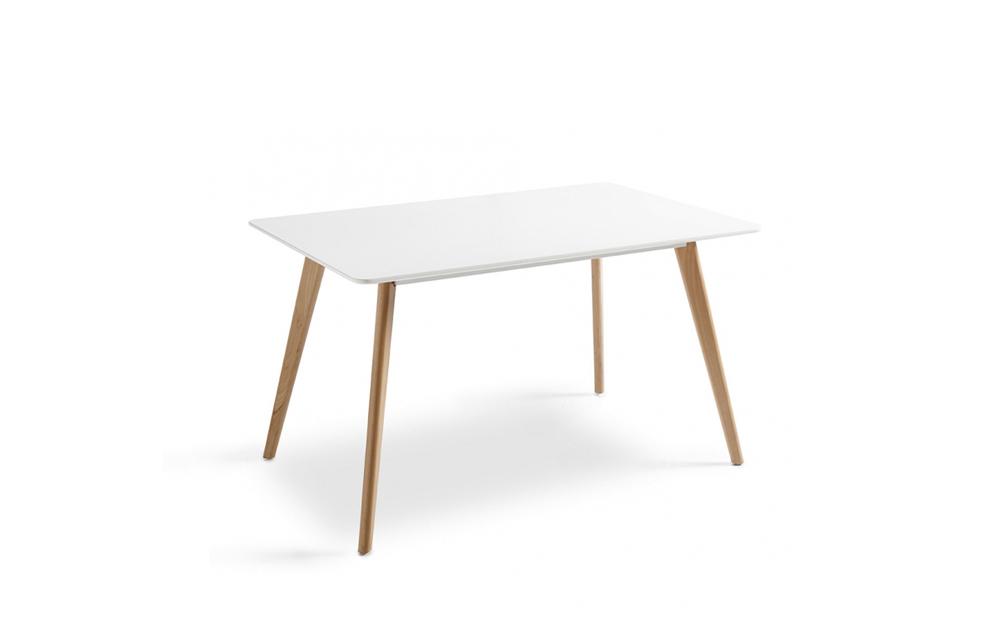 Mesa de cocina 15b-0005 blanco y madera vista técnica