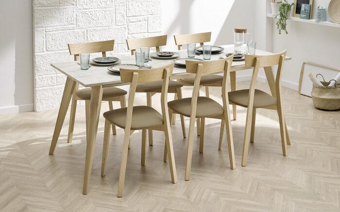 Mesa de cocina 15b-0006 beige y madera vista ambiente frontal