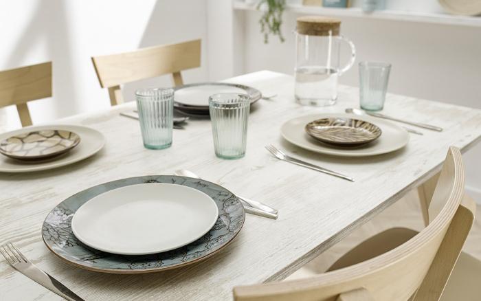 Mesa de cocina 15b-0006 beige y madera vista de detalle