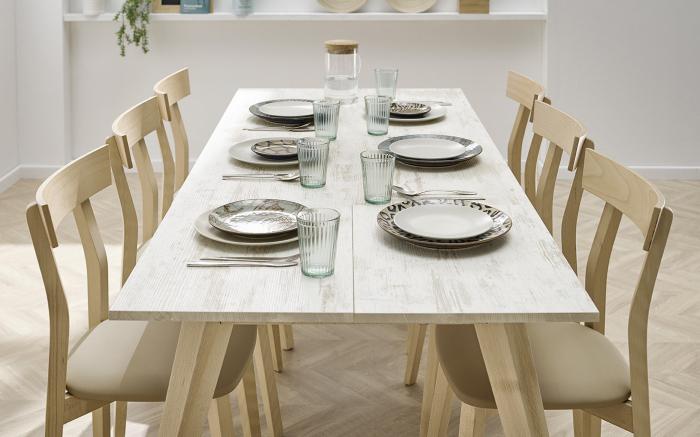 Mesa de cocina 15b-0006 beige y madera vista ambiente lateral