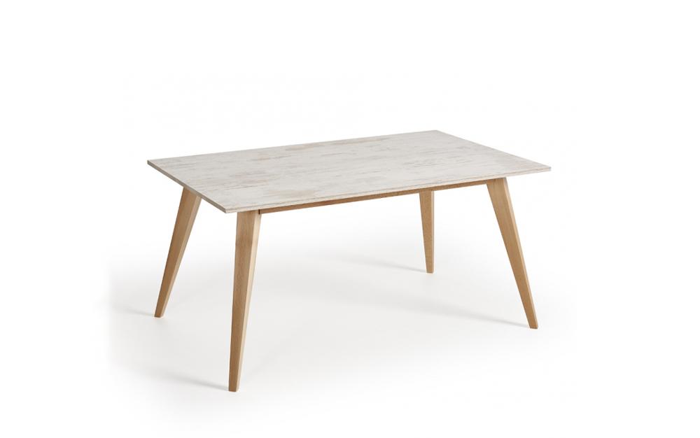 Mesa de cocina 15b-0006 beige y madera vista técnica