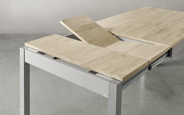 Mesa de cocina extensible 15b-0007 gris y madera vista de detalle mecanismo