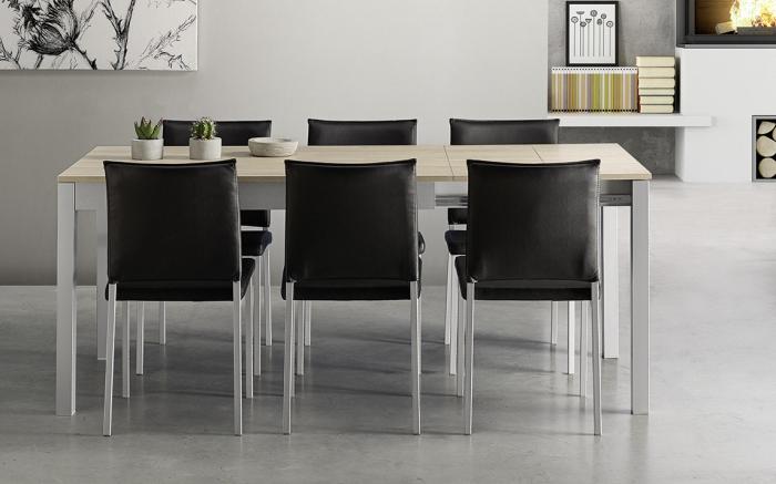 Mesa de cocina extensible 15b-0007 gris y madera vista frontal