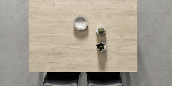 Mesa de cocina extensible 15b-0007 gris y madera vista top