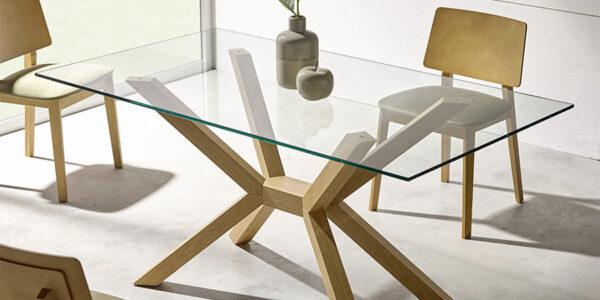 Mesa de comedor 14b-0010 madera y cristal vista ambiente