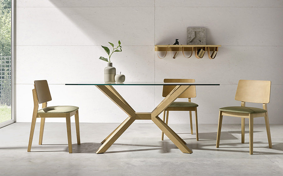 Mesa de comedor 14b-0010 madera y cristal vista ambiente frontal