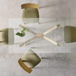 Mesa de comedor 14b-0010 madera y cristal vista ambiente top