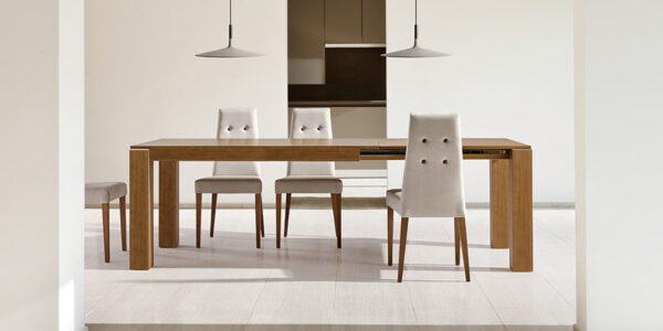 Mesa de comedor extensible 14b-0011 madera vista ambiente abierta