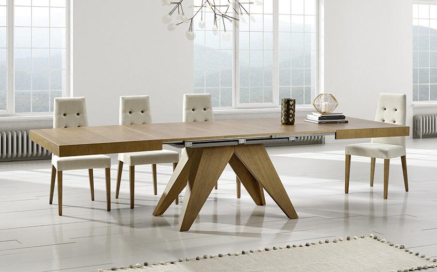 Mesa de comedor extensible 14b-0012 madera vista ambiente abierta