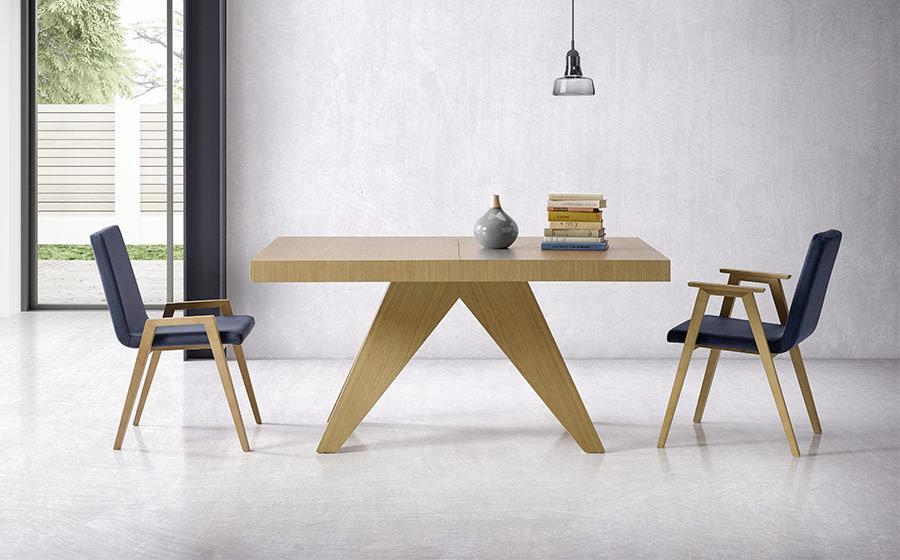 Mesa de comedor y sillas 14b-0012 color azul y madera vista ambiente frontal