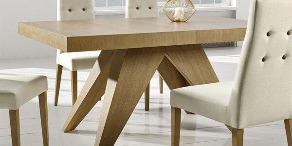 Mesa de comedor 14b-0012 madera vista de detalle cerrada
