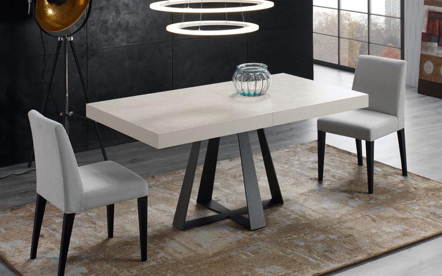 Mesa de comedor extensible 14b-0013 color negro y blanco vista ambiente