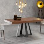 Mesa de comedor extensible 14b-0013 color negro y madera vista ambiente