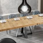 Mesa de comedor extensible 14b-0013 color negro y madera vista ambiente abierta