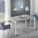 Mesa de comedor 14b-0014 color blanco y beige y azul vista ambiente frontal