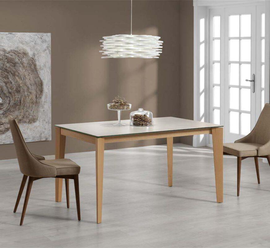 Mesa de comedor 14b-0014 color blanco y madera vista ambiente frontal