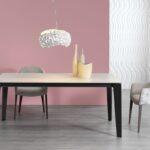 Mesa de comedor 14b-0014 color negro y beige vista ambiente frontal