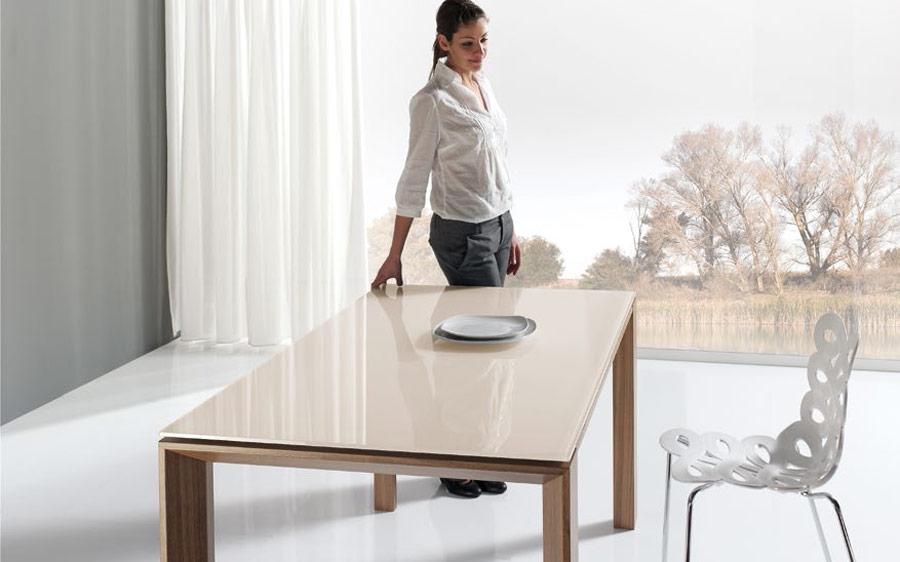 Mujer en mesa de comedor 14b-0015 madera y beige vista ambiente