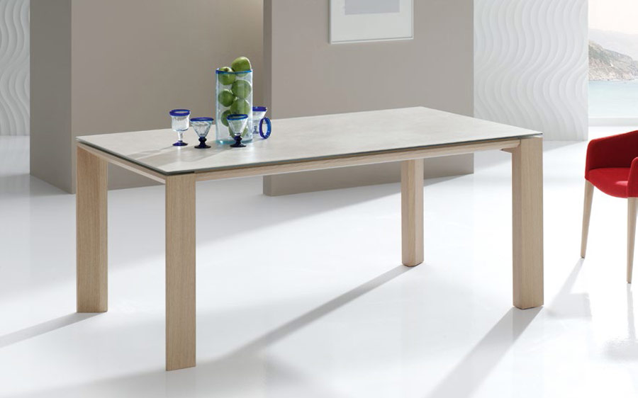 Mesa de comedor extensible 14b-0015 color beige y madera vista ambiente