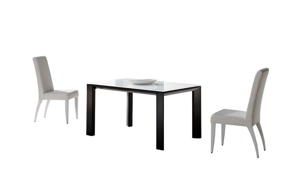 Mesa de comedor 14b-0015 color negro y blanco vista técnica