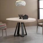 Mesa de comedor redonda extensible 14b-0016 color beige y negro vista ambiente frontal