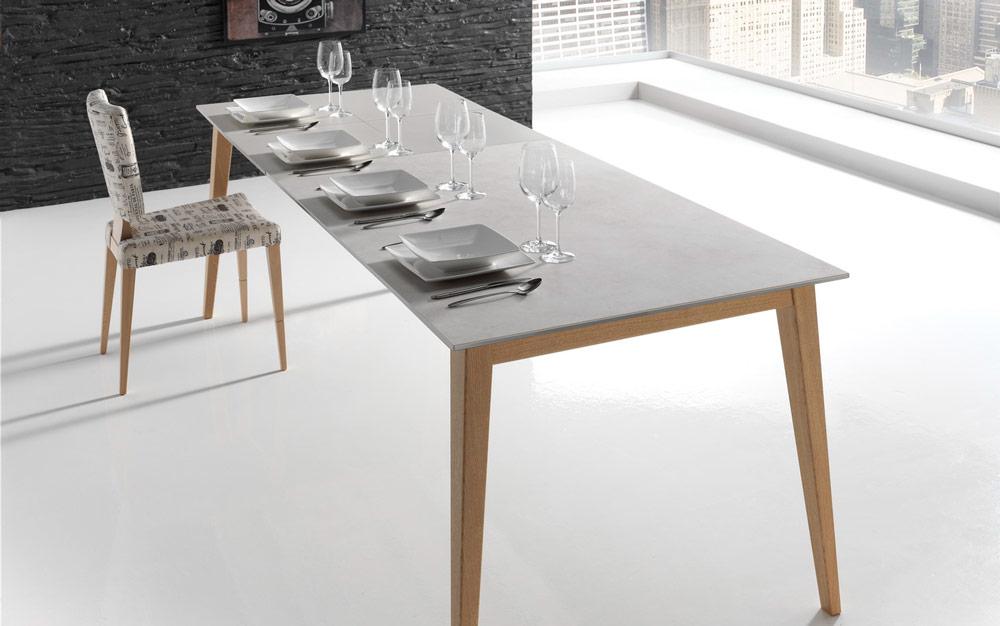 Mesa de comedor extensible 14b-0017 color gris y madera vista ambiente