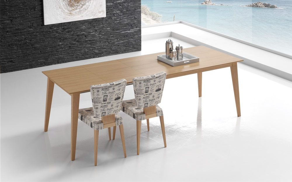 Mesa de comedor extensible 14b-0017 madera vista ambiente