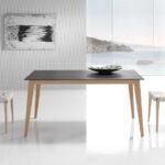 Mesa de comedor extensible 14b-0017 color negro y madera vista ambiente