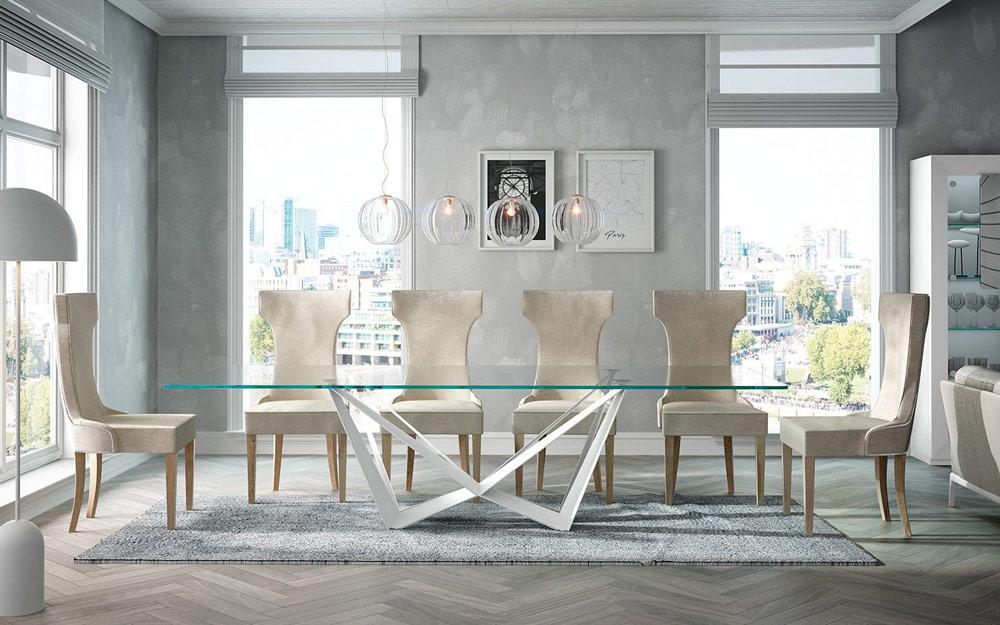 Mesa de comedor 14b-0019 color blanco y cristal vista ambiente frontal