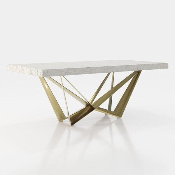 Mesa de comedor 14b-0019 color blanco y dorado vista técnica