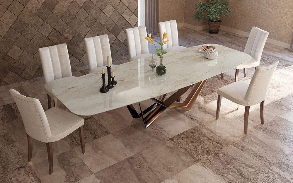 Mesa de comedor 14b-0019 color cobre y cerámica vista ambiente