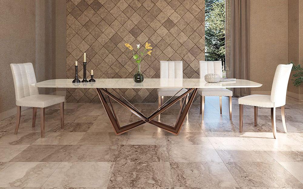 Mesa de comedor 14b-0019 color cobre y cerámica vista ambiente frontal
