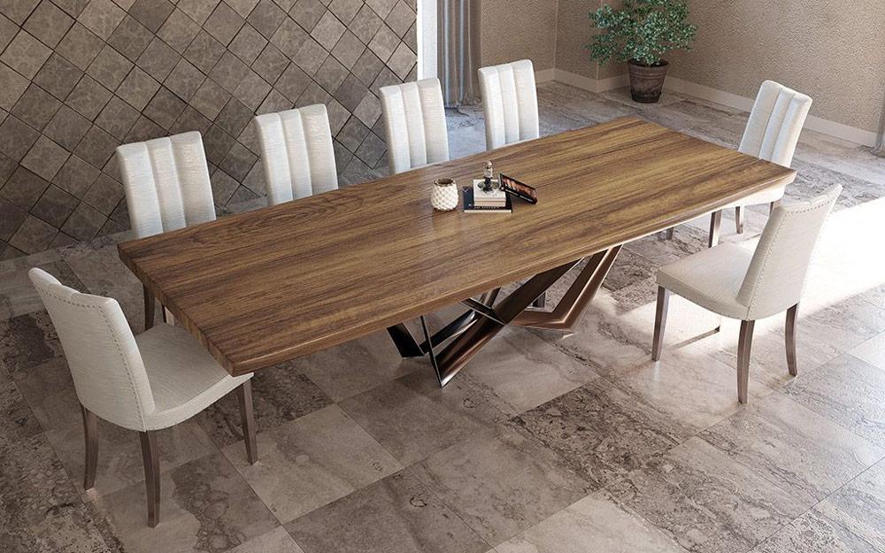 Mesa de comedor 14b-0019 color cobre y madera vista ambiente