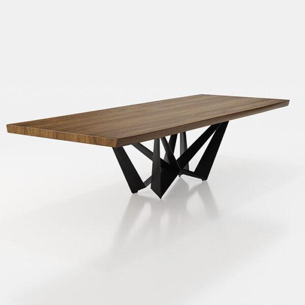 Mesa de comedor 14b-0019 color negro y madera vista técnica