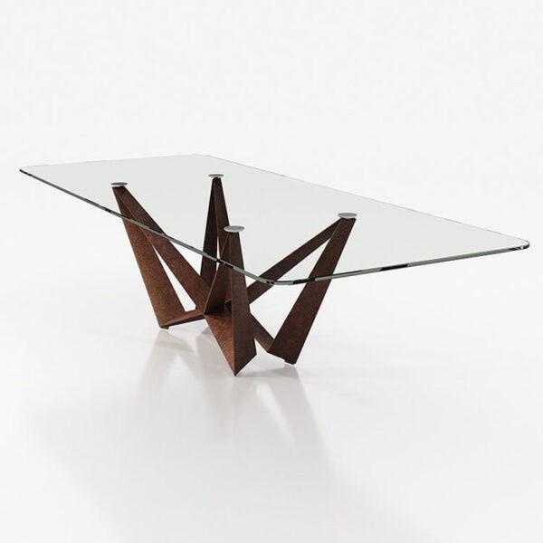 Mesa de comedor 14b-0019 color marrón y cristal vista técnica