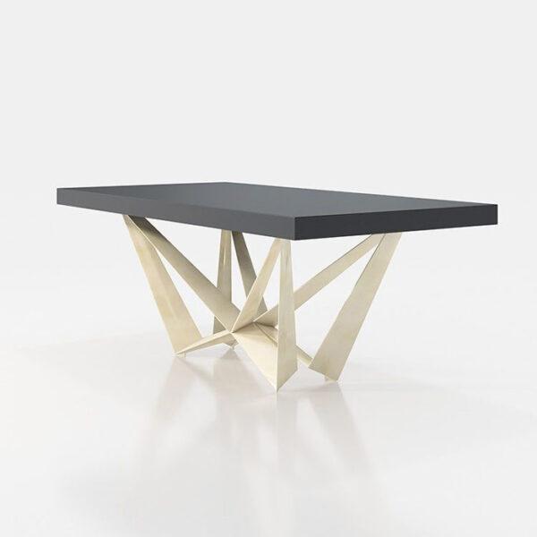 Mesa de comedor 14b-0019 color negro y blanco vista técnica