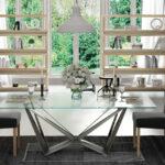 Mesa de comedor 14b-0019 color plateado y cristal vista ambiente frontal
