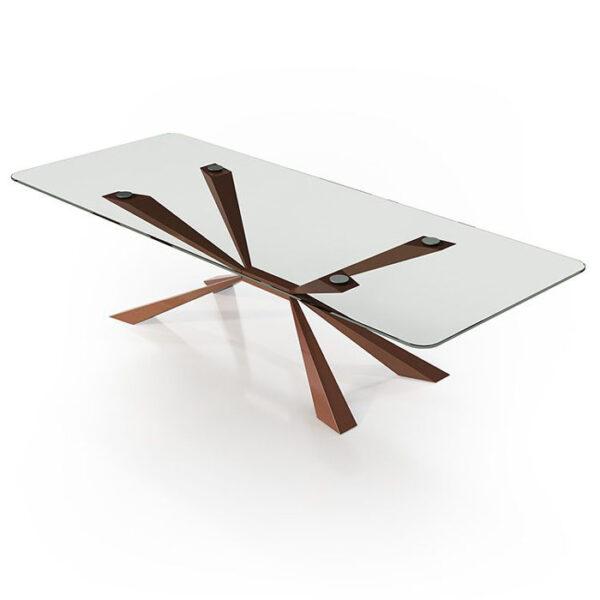 Mesa de comedor 14b-0020 color cobre y cristal vista técnica